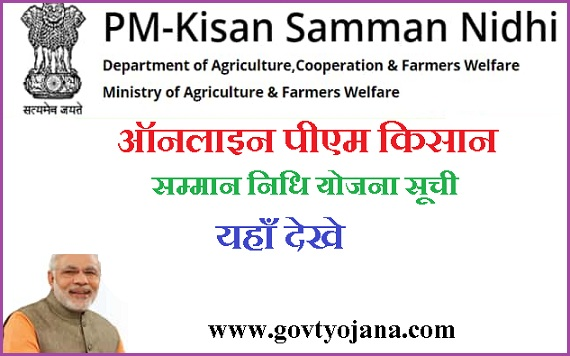 पीएम किसान सम्मान निधि योजना सूची 2020